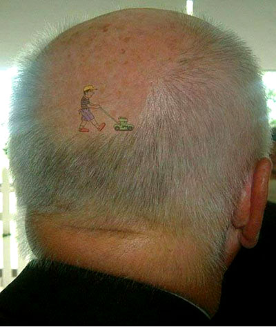 And a picture that's worth 1000 words Image of balding man with tattoo